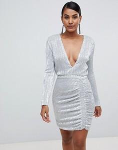 Платье мини с отделкой переливающимися пайетками Lavish Alice - Серебряный