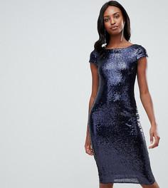 Темно-синее платье миди с короткими рукавами, открытой спиной и пайетками TFNC Tall - Темно-синий