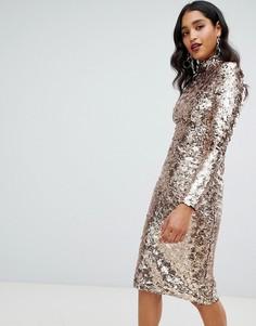 43572b8a1b395ea Платье миди с высоким воротником и золотистыми пайетками TFNC - Золотой