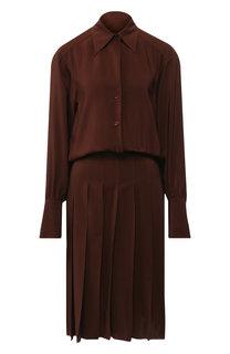 Однотонное шелковое платье со складками Chloé