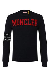 Шерстяной джемпер с логотипом бренда Moncler