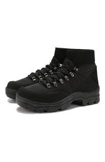 Комбинированные ботинки на шнуровке Moncler