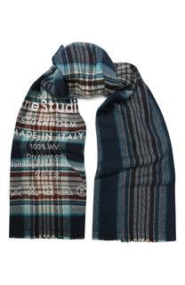 Шерстяной шарф в клетку с принтом Acne Studios
