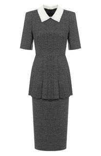Шерстяное платье-миди с отложным воротником Fendi