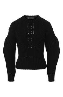 Шерстяной пуловер с объемными рукавами Versace