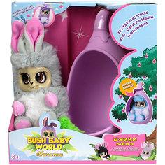 """Интерактивная мягкая игрушка 1Toy Bush baby world """"Пушистики"""" со спальным коконом, Нениа, 17 см"""