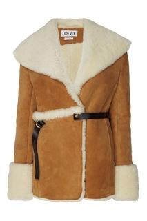 Коричневое пальто из овчины Loewe