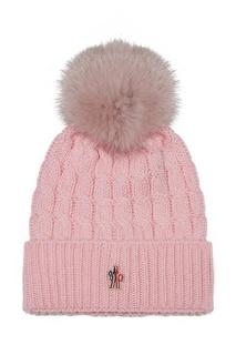 Розовая шапка с помпоном Moncler