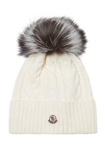 Белая вязаная шапка с помпоном Moncler