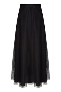 Длинная черная юбка с сеткой RED Valentino
