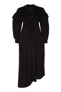 Черное свободное платье с воланами Simone Rocha