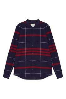 Синяя рубашка с красными полосками Tryyt