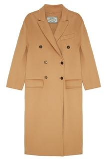 Бежевое двубортное пальто Prada