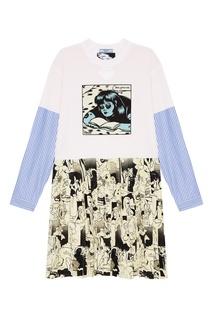 Платье с комбинированным дизайном Prada