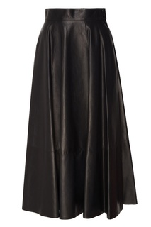 Черная кожаная юбка Loewe
