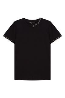 Черная футболка с кольцами Maje