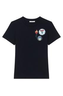 Черная футболка с нашивками Maje