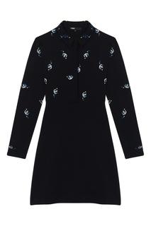 Черное платье миди с принтом Maje