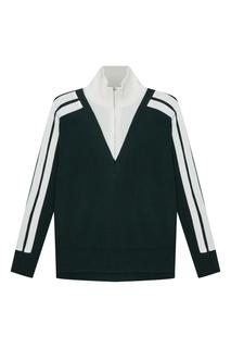Зеленый пуловер с контрастной вставкой Sandro
