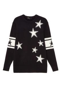 Черный свитер со звездами Maje