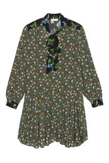 Контрастное платье с заниженной талией Sandro