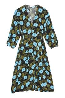 Платье миди с контрастным принтом Sandro