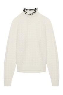Белый свитер с декоративным воротником Maje