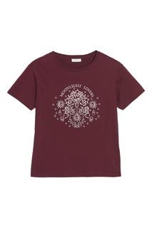 Бордовая футболка с контрастной вышивкой Sandro