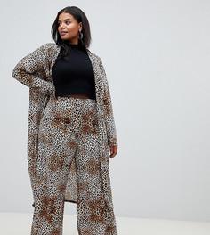 Широкие брюки с леопардовым принтом из комплекта Pink Clove - Коричневый
