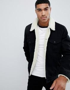 Черная джинсовая куртка с подкладкой из искусственного меха ASOS DESIGN - Черный