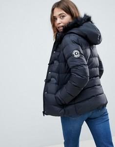 Короткое стеганое пальто с капюшоном из искусственного меха Brave Soul - Черный