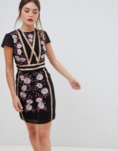 Платье с короткими рукавами и вышивкой Frock & Frill - Черный