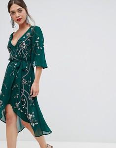 Платье миди с запахом и рукавами 3/4Frock & Frill - Зеленый