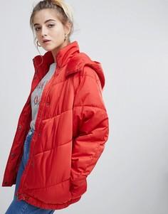 Дутая куртка с капюшоном Noisy May - Оранжевый