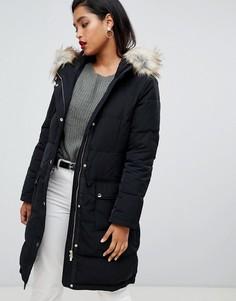 Дутая куртка с искусственным мехом Vila - Черный