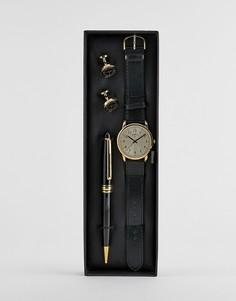 Подарочный набор с часами, золотистыми запонками и ручкой Limit - Черный