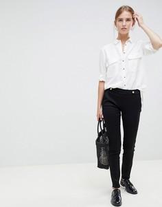 Зауженные брюки с пуговицей на поясе JDY Tara - Черный