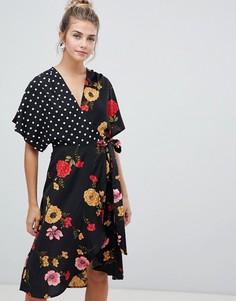 Платье с принтом, рукавами-кимоно и запахом Influence - Черный