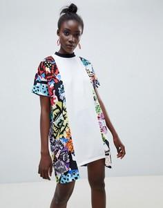 Платье-футболка с цветочным принтом ASOS Made In Kenya - Мульти