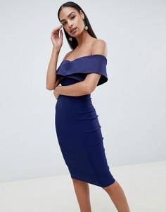 Платье-футляр с контрастной отделкой Vesper - Темно-синий
