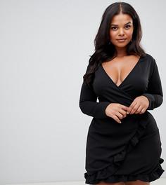 Черное платье мини с поясом и оборками PrettyLittleThing Plus - Черный