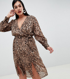 Шифоновое платье миди с леопардовым принтом и запахом Boohoo Plus - Мульти