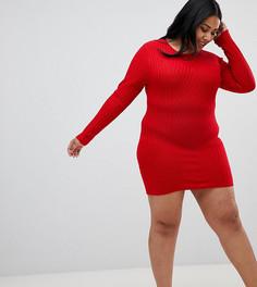 Платье-джемпер с маками Brave Soul Plus - Красный