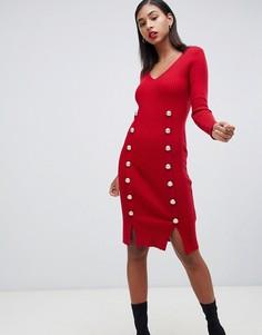 Красное трикотажное обтягивающее платье с пуговицами Morgan - Красный
