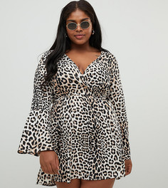 Платье с леопардовым принтом и рукавами клеш Influence Plus - Коричневый