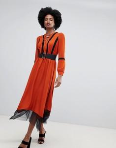 Платье миди с поясом и сетчатой вставкой по нижнему краю Sisley - Оранжевый