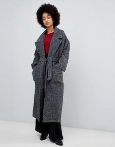 Пальто с запахом с узором в елочку Dr Denim - Серый