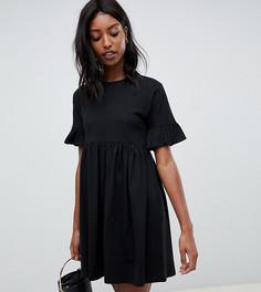 92cb9fa88e0 Хлопковое свободное платье с оборками на рукавах ASOS DESIGN Tall - Черный