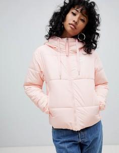 Розовая дутая куртка с маленьким логотипом Nike - Розовый