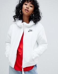 Белая дутая куртка с маленьким логотипом Nike - Белый